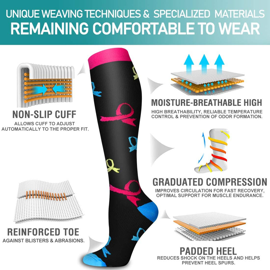6-Pairs Cute Compression Socks for Man and Woman(20-30 mmHG) | ACTINPUT