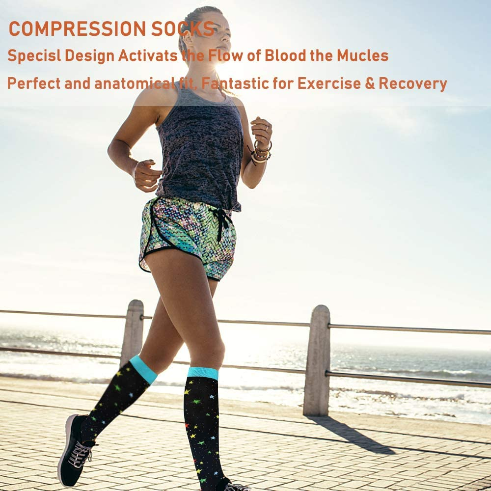 7-Pairs Fun Compression Socks for Man and Woman (20-30 mmHG) | ACTINPUT