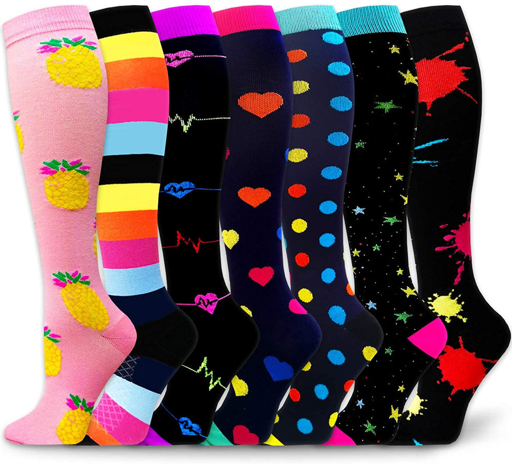 7-Pairs Fun Design Compression Socks for Man and Woman (20-30 mmHG)| ACTINPUT