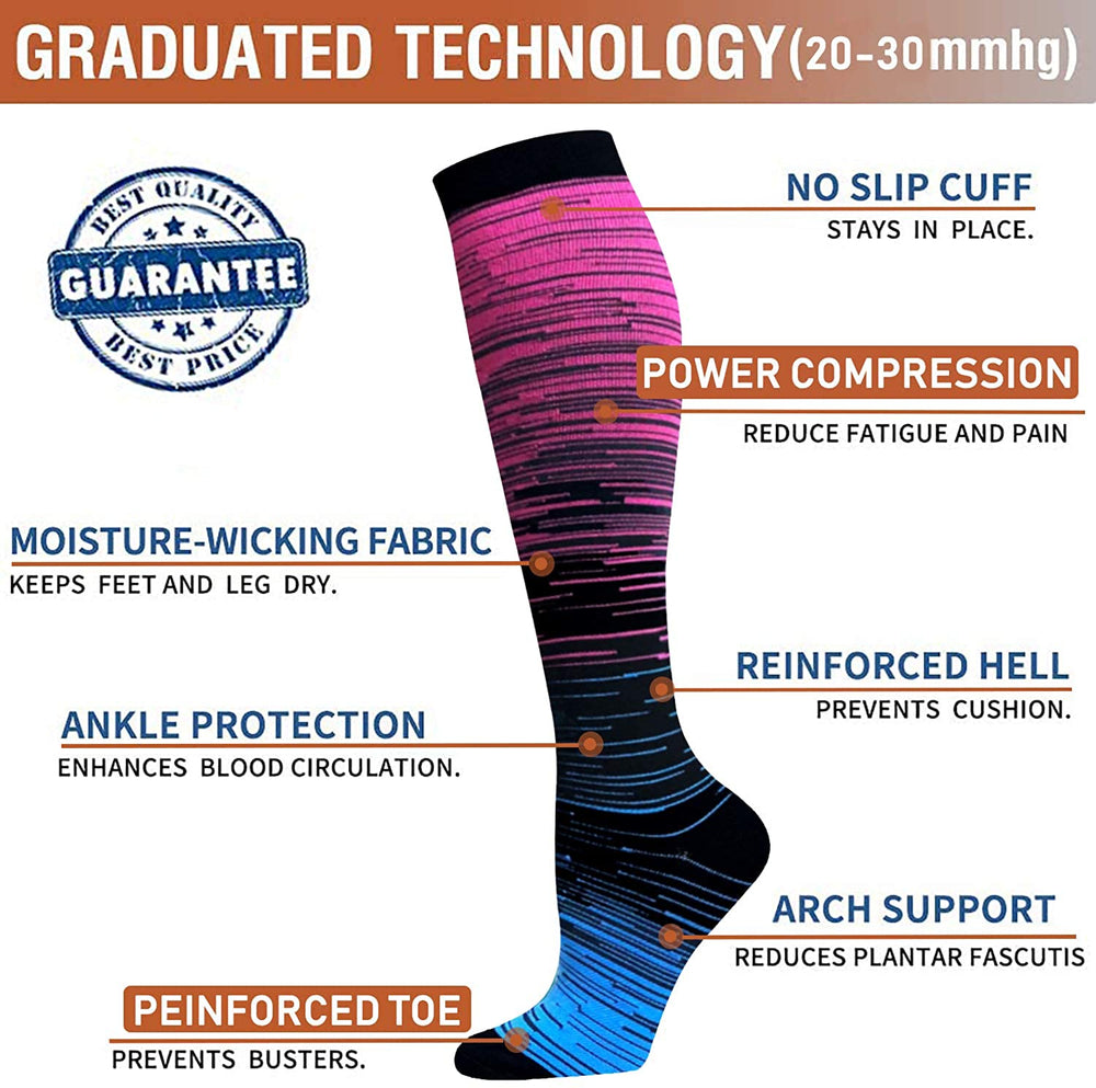7-Pairs Gradient Change Compression Socks 20-30 mmHg for Man and Woman | ACTINPUT