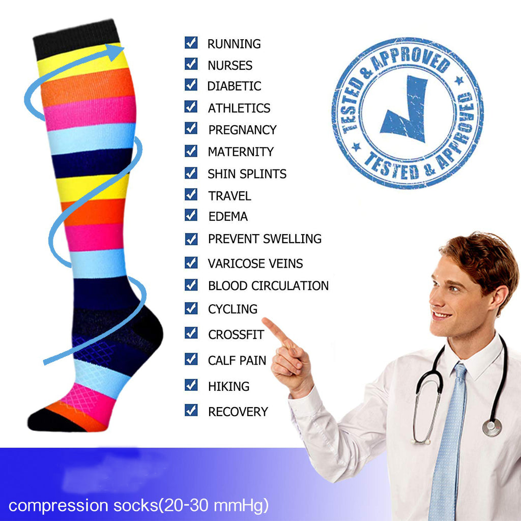 3-Pairs Cute Compression Socks 20-30 mmHG for Man and Woman | ACTINPUT