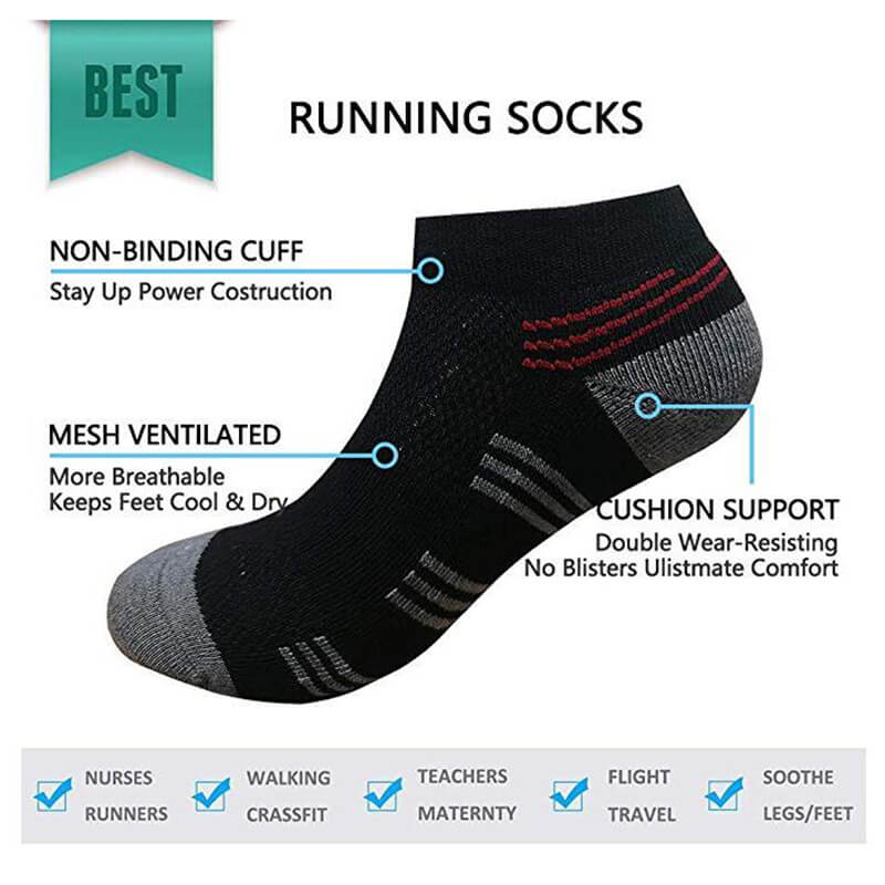 5-Pairs Running No Show Running Cushion Sock | ACTINPUT