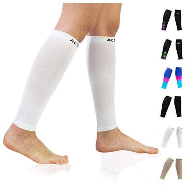 White Compression Calf Sleeves
