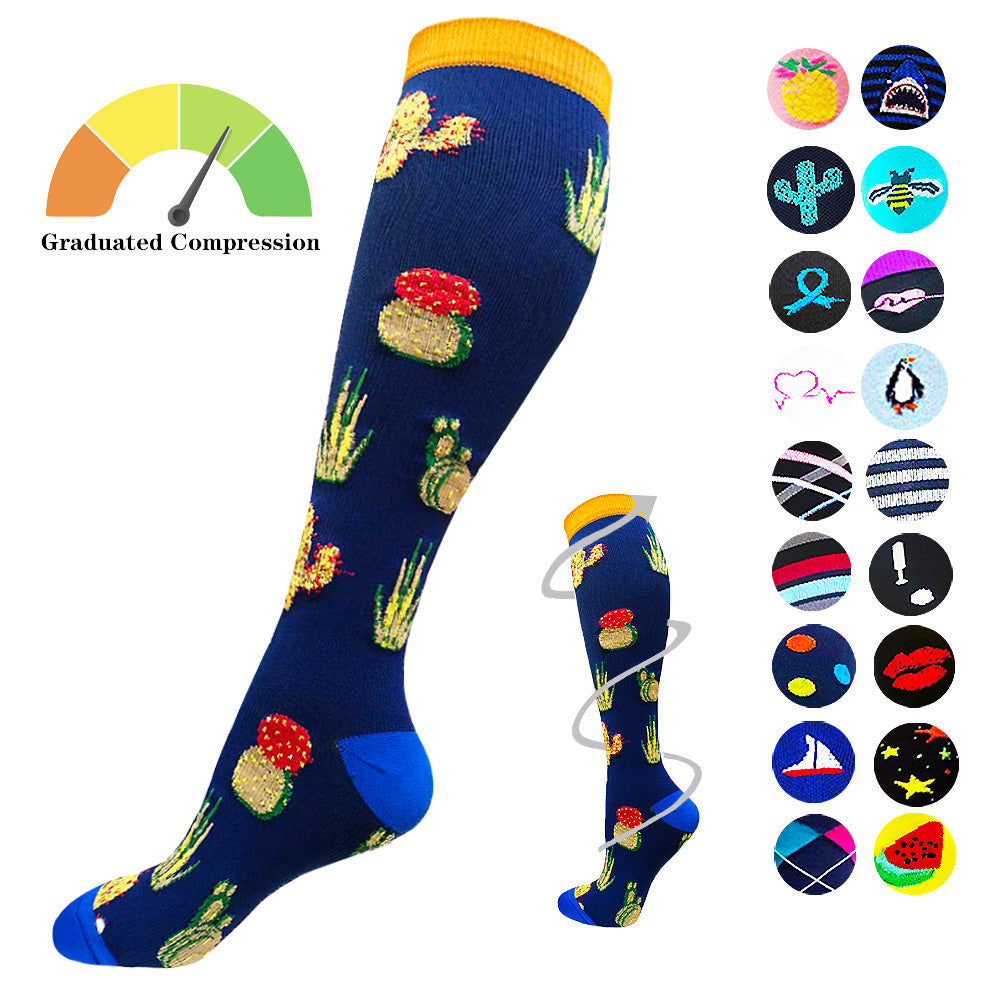 1-Pair Cute Undersea Animal Print Compression Socks ( 20-30MMHG) | Actinput