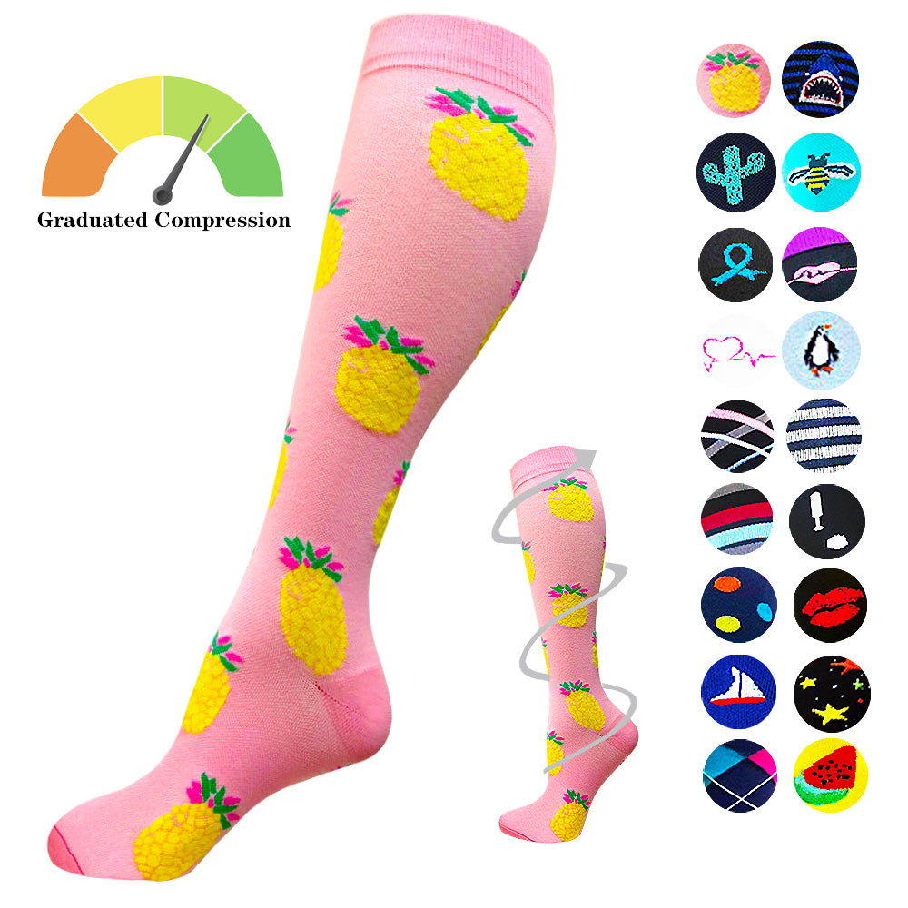 1-Pair Pink Pineapplet Print Compression Socks ( 20-30MMHG) | Actinput