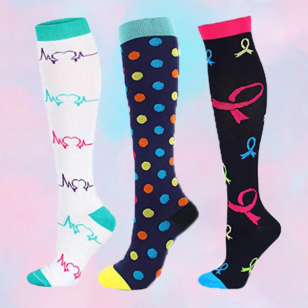 3-Pairs Color Mix Compression Socks for Man & Woman(20-30 mmHG) | ACTINPUT