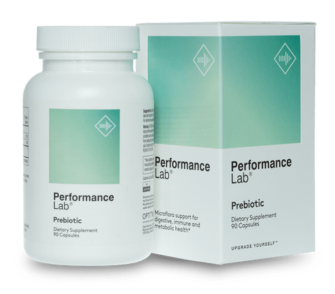 A bottle of Performance Lab Prebiotic Supplement