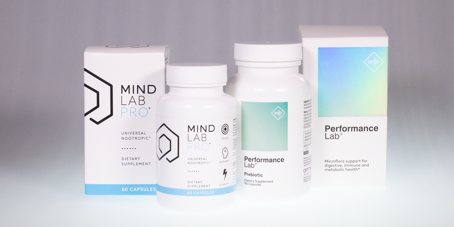 A bottle of Performance Lab Prebiotic next to a bottle of Mind Lab Pro