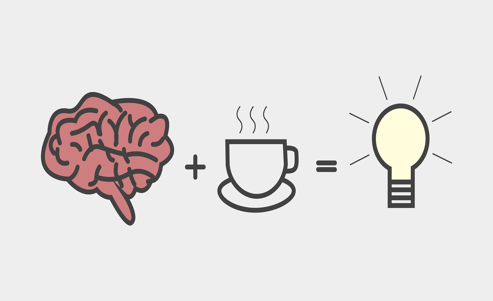 an image showing a brain and cup of coffee next to a light switch