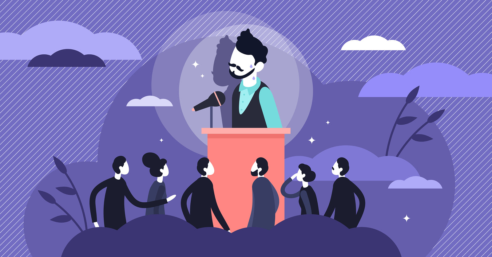 A cartoon of a man public speaking being watched by a crowd causing performance anxiety