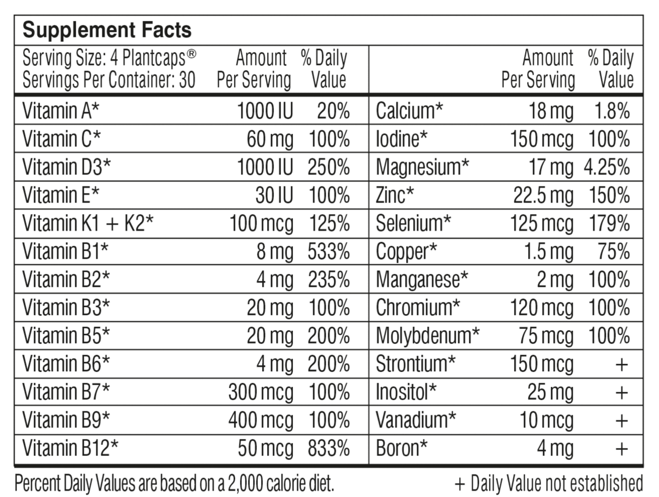 Supplement facts label for Performance Lab Whole-Food Multi for Men