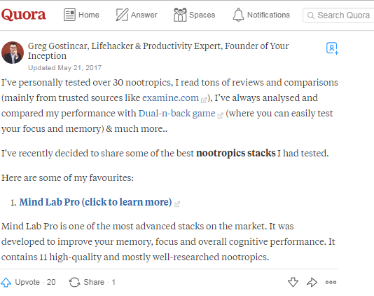 Nootropics on Quora include Mind Lab Pro, the Universal Nootropic