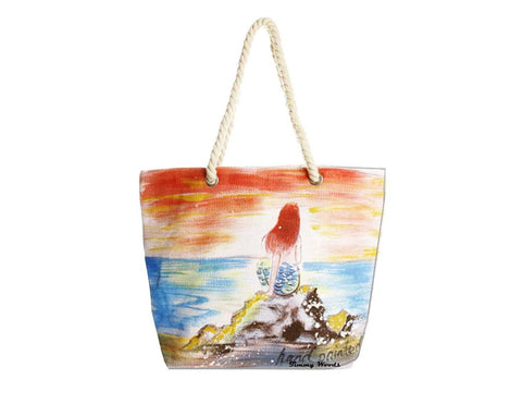Hand-Painted Little Mermaid Tote Bag