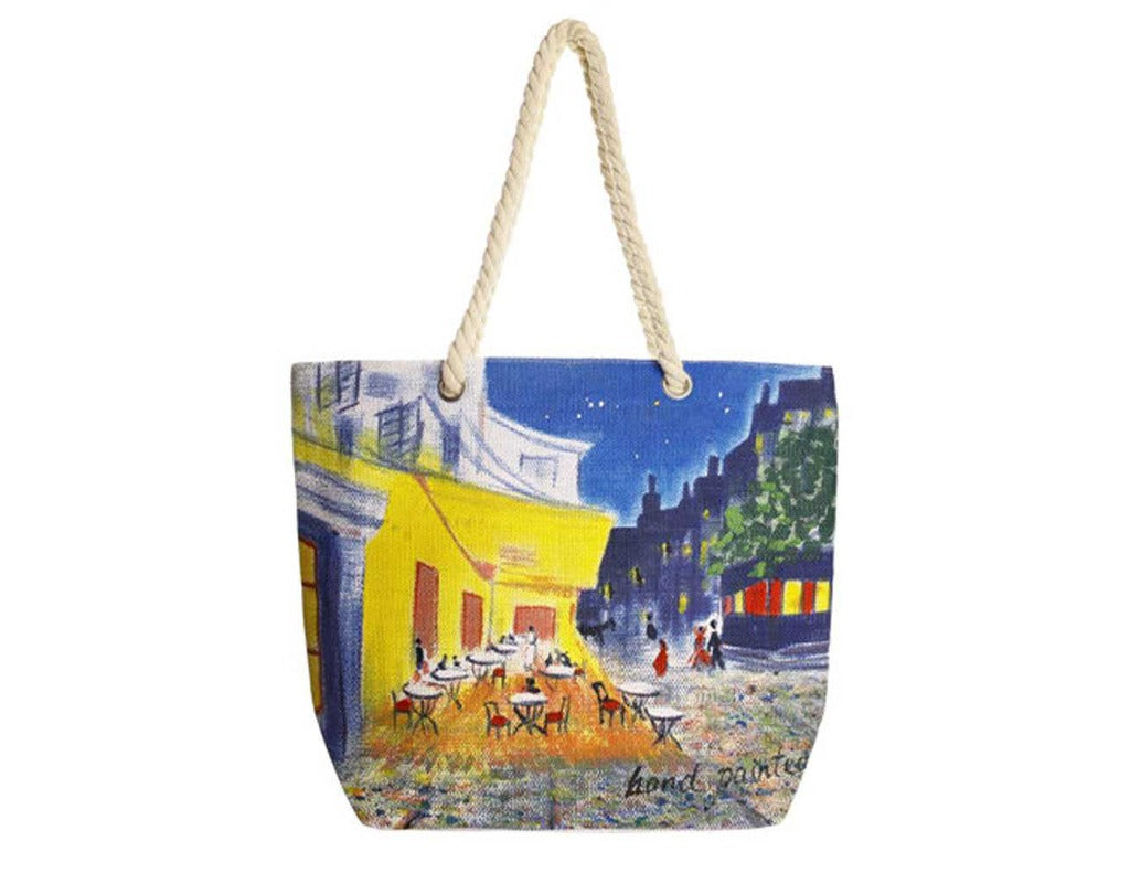 Hand-Painted Night View Tote Bag