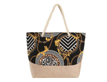 Multi Print Black Chain Link Tote Bag