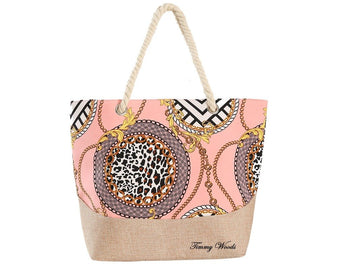 Multi Print Pink Chain Link Tote Bag