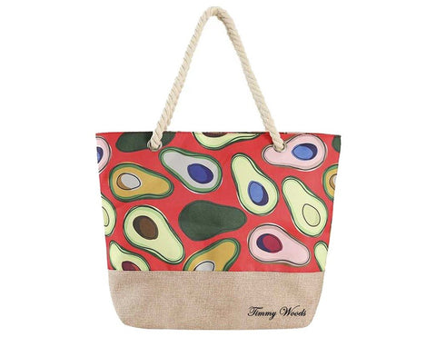 Multi Print Avocado-Red Tote Bag