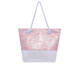 Timmy Woods Pink Zebra Pattern Tote Bag