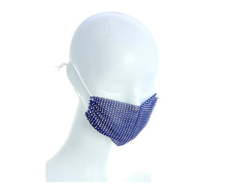 Blue Mesh Face Mask With/Sparkly Crystals