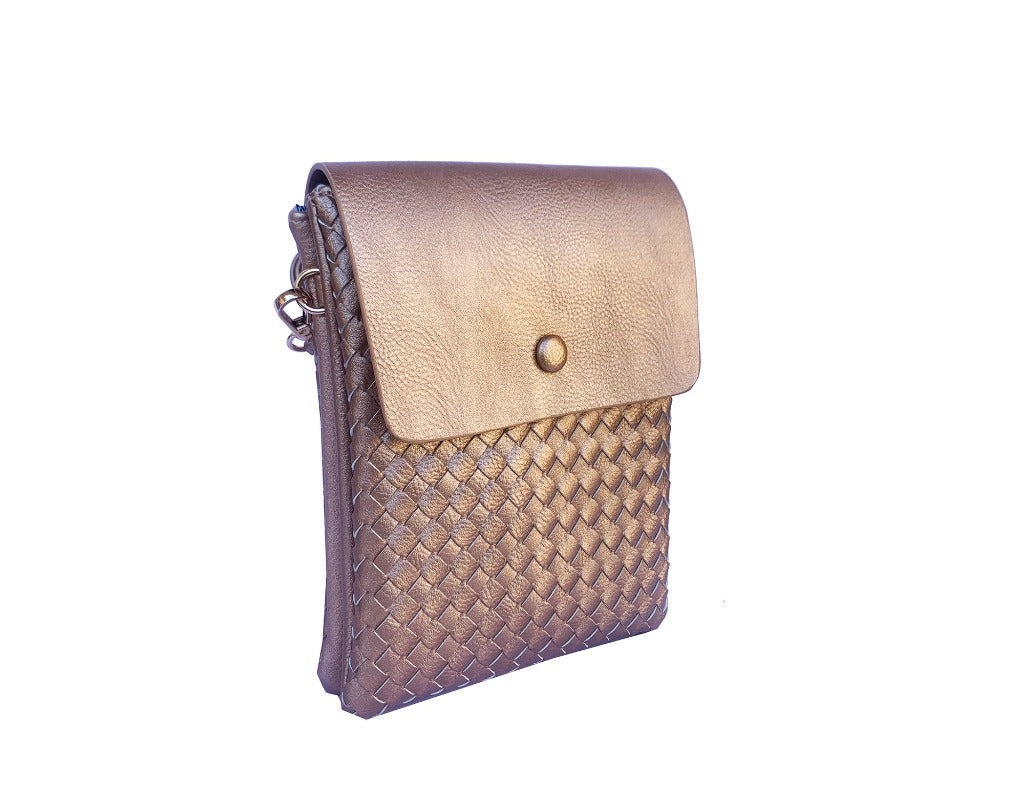 Ava - Soft Gold Woven Vegan Leather