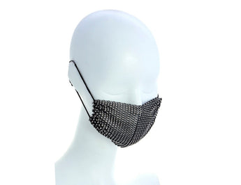 Black Mesh Face Mask With/Sparkly Crystals