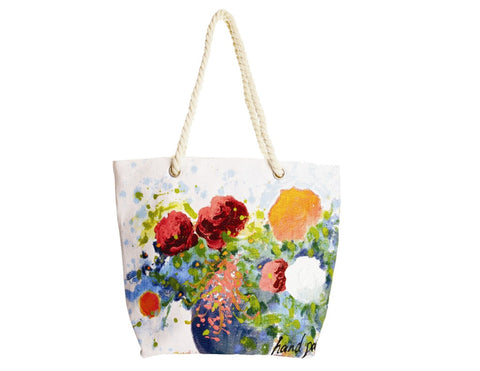 Hand-Painted Le Jardin Tote Bag