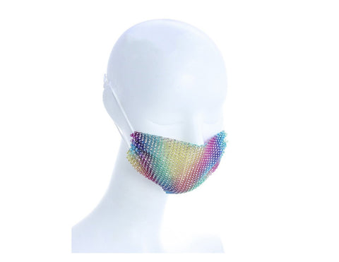 Multicolor Mesh Face Mask With/Sparkly Crystals