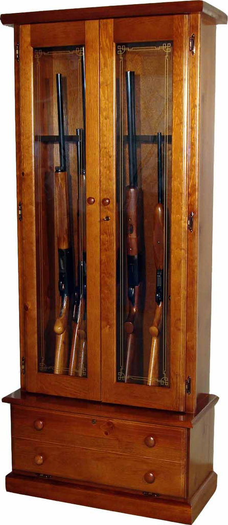 12-Gun Double Door Locking Wood Gun Cabinet