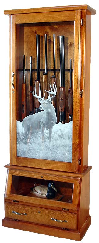 12-Gun Wood Gun Cabinet with Locking Pistol Display