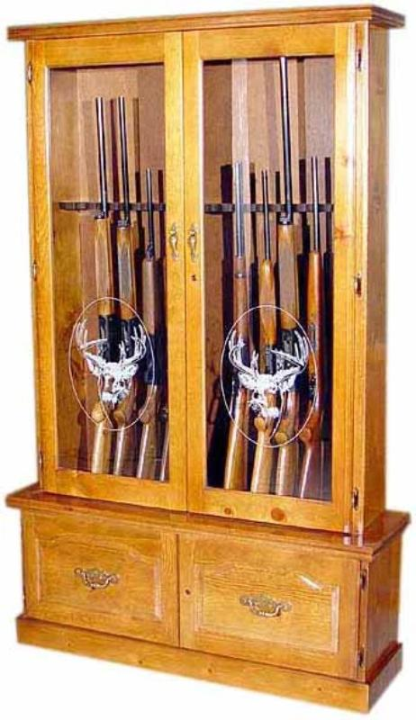 12-Gun Wood Gun Cabinet with Double Door Display