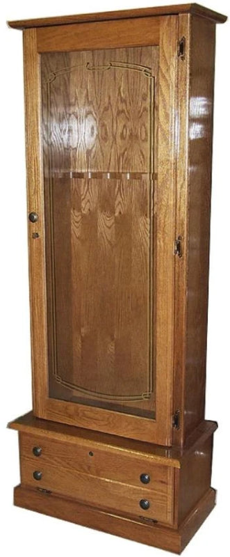 10-Gun Locking Wood Gun Cabinet in Solid Oak