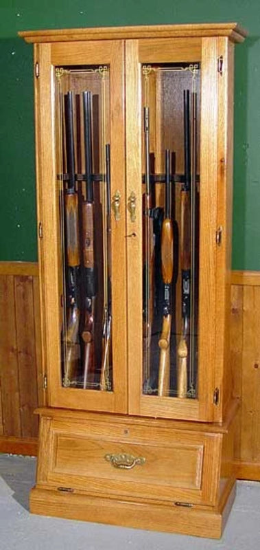 8-Gun Double Door Solid Oak Wood Gun Cabinet