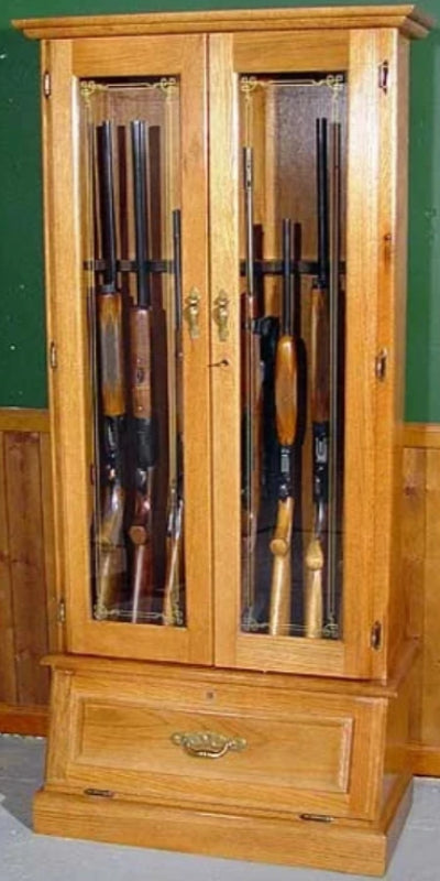 12-Gun Double Door Solid Oak Wood Gun Cabinet