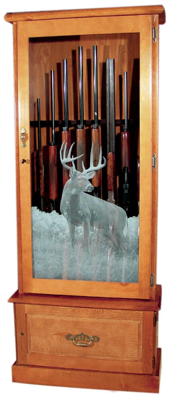 8-Gun Solid Pine Locking Wood Gun Cabinet