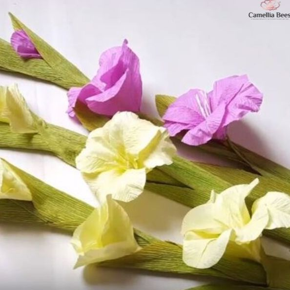How To Make Paper Gladiolus Flowers From Crepe Paper – DIY Tutorial