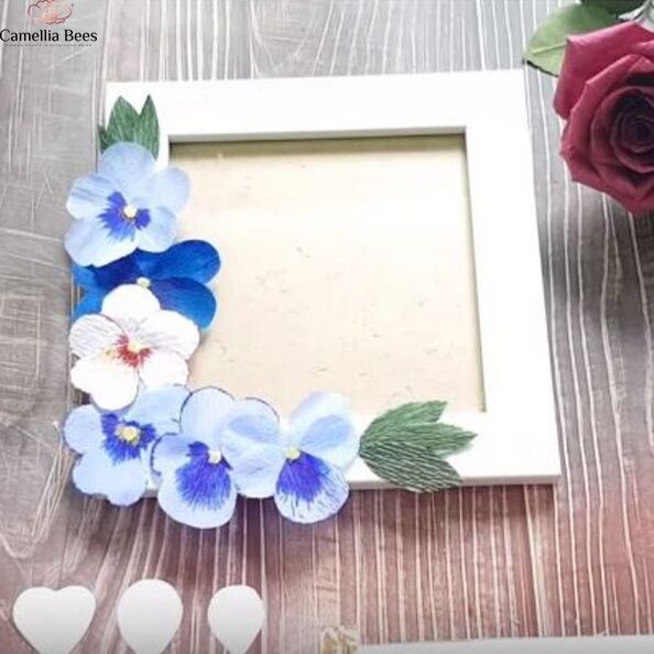 How To Make Paper Flower Photo Frame With Pansy Crepe Paper Flower