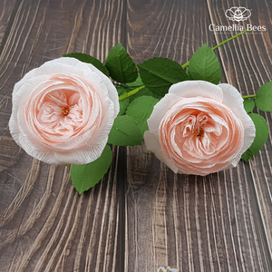 How to make paper rose from crepe paper- David Austin Rose (Keira) - Craft Tutorial
