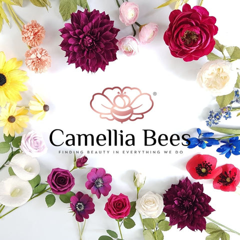 Paper flowers Camellia Bees