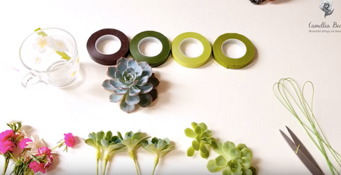 how-to-use-Floral-tape-with-succulents-diy
