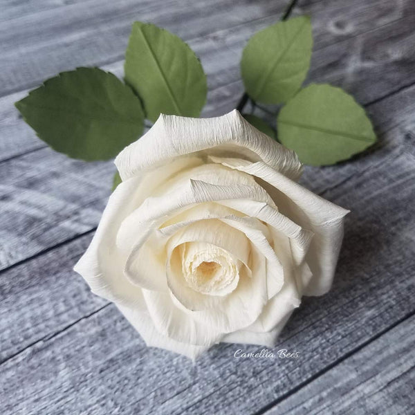 White Paper Rose Handmade Realistic Artificial Rose from Crepe Paper Perfect Paper Gift for Christmas,Wedding Anniversary, Valentine's Day, Mother's Days, Single Long Stem, 01 Flower