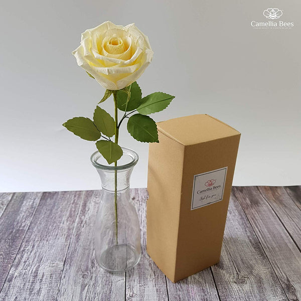 CamelliaBees Realistic Paper Rose in Gift Box Romantic Gift for Her Anniversary Valentine's Day Christmas Mothers Day Birthday Gift, Handmade Paper Ecuador Rose, Cream Color