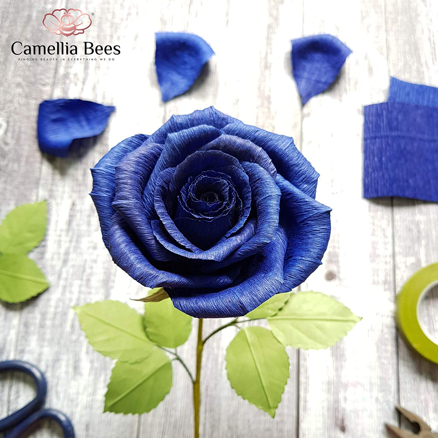Blue Paper Rose Unique Anniversary Gift For Her Handmade Crepe Paper Flowers for Valentine Birthday Mother Day Christmas, Single Long Stem Real Looking, Royal navy blue rose