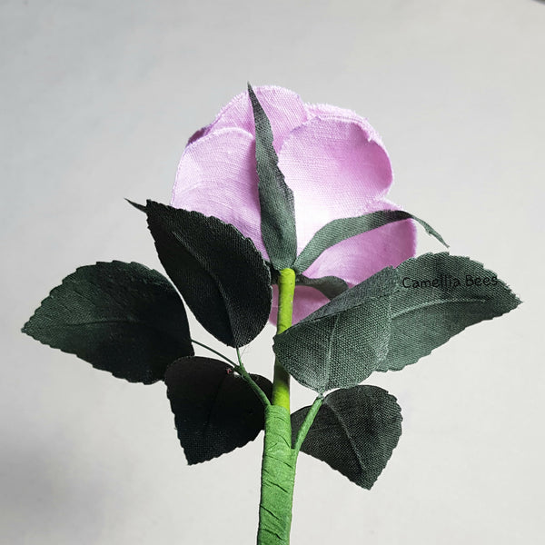 Linen Rose 4th Year Wedding Gift. Handmade Linen Rose for Valentine's Day, Mother's Day. Single Long stem Linen Cotton Flower (Pink)