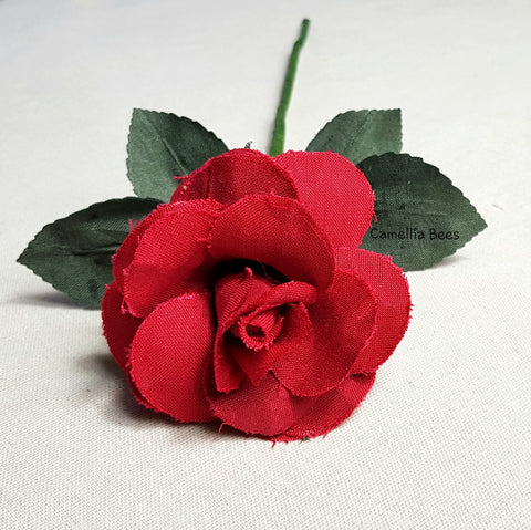 Linen Rose 4th Year Wedding Gift. Handmade Linen Rose for Valentine's Day, Mother's Day. Single Long stem Linen Cotton Flower (Red)