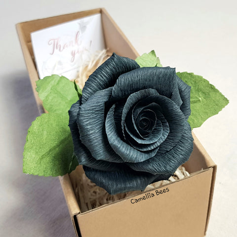 Black Paper Rose Gift, Single Long stem Paper Rose, Handmade Crepe Paper Flower (Black)