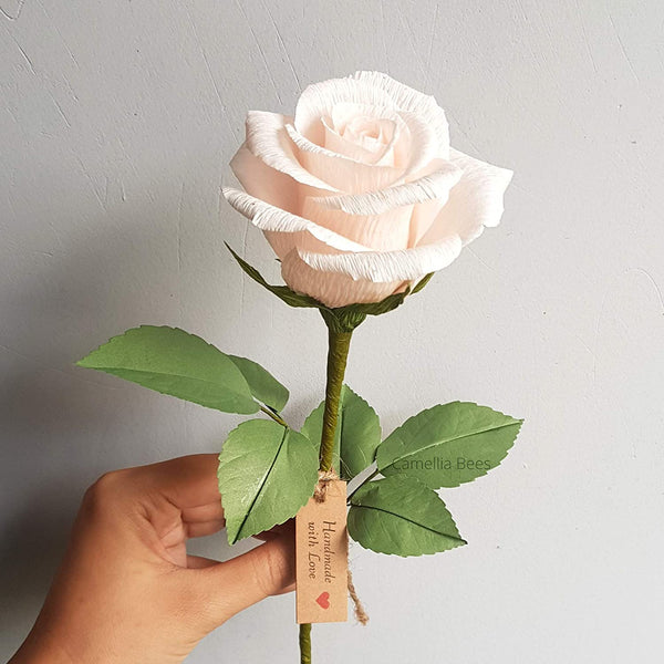Paper Rose Gift, Single Long stem Paper Rose for 1 Year Wedding Anniversary, Valentines Day, Mothers Day, Teachers Day, Handmade Crepe Paper Flower (Blush Pink)