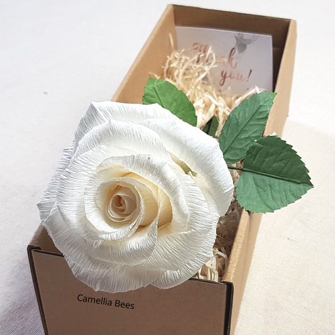 1st Year Wedding Gift Paper Rose Box, Unique Handmade Forever Roses Flower Gift for Valentines, Mothers Day, Wedding Anniversary (White)