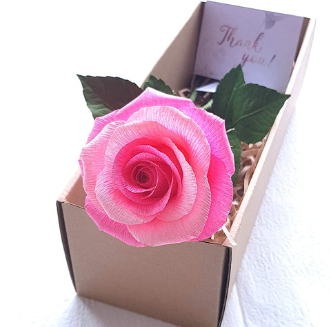 Pink Paper Rose Handmade Crepe Paper Flowers, Gifts for Her, Gifts for Mom, Vintage Rustic Paper Flower for Wedding, Christmas, Party, Home Decoration, 01 Single Long Stem