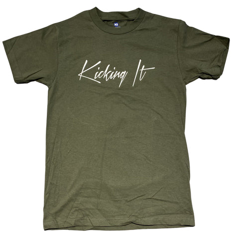 Kicking It Embroidered Script Tee Olive Green