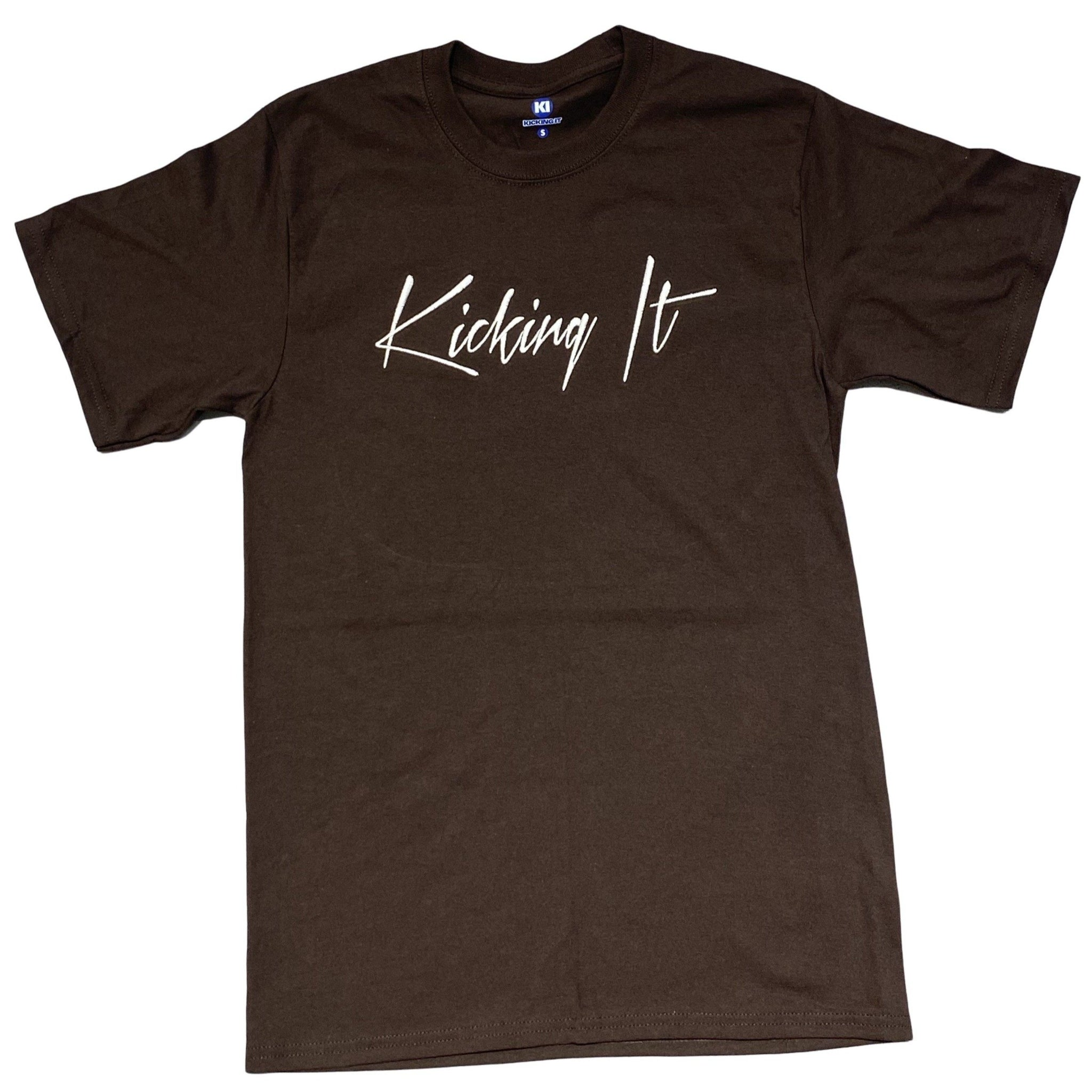 Kicking It Embroidered Script Tee Chocolate